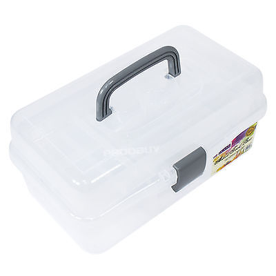 Artist's Tool Box Clear Plastic Carry Case Art Pencil Brush School Storage Caddy
