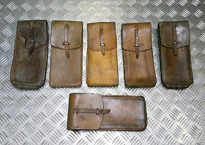 Genuine Vintage Military Issue Long Brown Leather Ammo / Utility Pouch