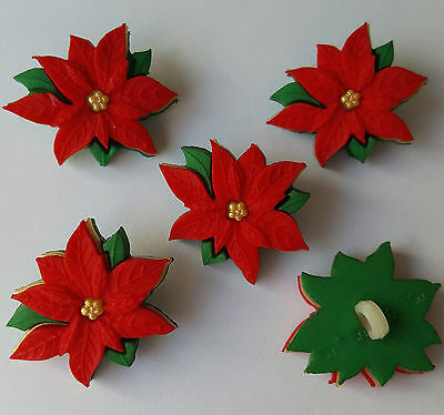 RED POINSETTIAS - Christmas Holiday Flowers Novelty Dress It Up Craft Buttons