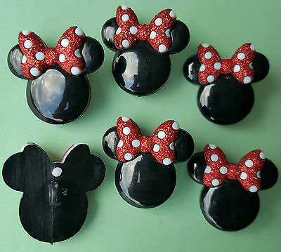 MINNIE MOUSE HEADS - Disney Girl Mouse Glitter Bows Dress It Up Craft Buttons