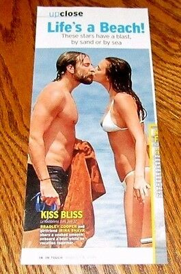 Shirtless BRADLEY COOPER 4X10 PINUP Clipping Male Movie Star Kissing Irina Shayk