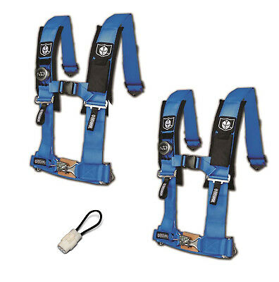 """Pro Armor 4 Point Harness 2/"""" Pads Seat Belt PAIR BYPASS Silver Can Am UTV All"""