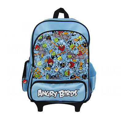 New Angry Birds Large 16' School Rolling Backpack-Black • $31.99 ...