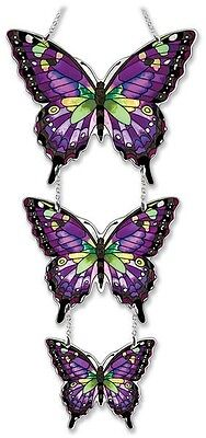 """Amia Stained Glass 7.75X12.75"""" Triple Swallowtail Butterfly Window Panel #41808"""