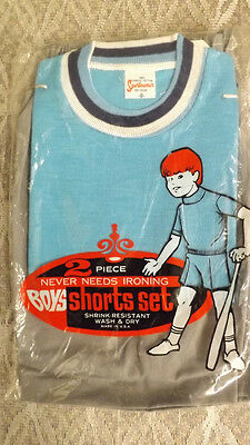 Vtg 60's Boy's Shirt/Shorts 2 pc Play Set NOS sz 6 Blue/gray Sportswear USA Made