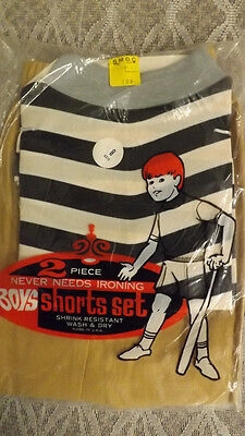 Vtg 60's Boy's Shirt/Shorts 2 pc Play Set NOS sz 8 Black/White Sportswear USA