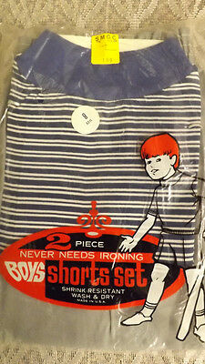 Vtg 60's Boy's Shirt/Shorts 2 pc Play Set NOS sz 8 Blue/Gray Sportswear USA