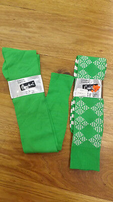 2 pr lot Vtg Constaantt Bright Green Knee Socks, Nylon Stretch Mod 1960's 9-11