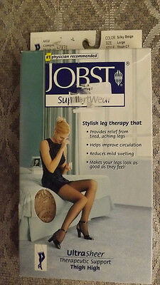 Jobst Compression 8-15 mmhg Thigh High Stockings sz Large Silky Beige