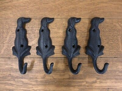 "4 Brown Dog Shaped Wall Hooks Hangers 5 1/4"" Cast Iron Pet Leash Key Coat Hat"