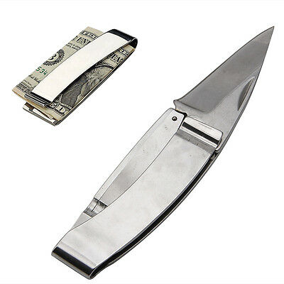 Stainless Steel Mini Folding Knife Money EDC Gear Cash Clip Camping Survival New