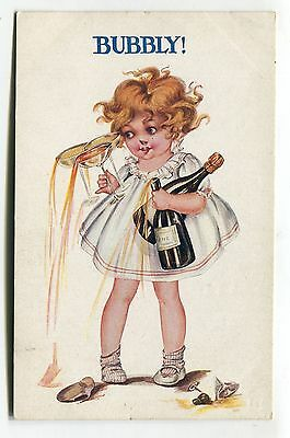 Little girl with wine & champagne - Bubbly! - old artistic comic postcard