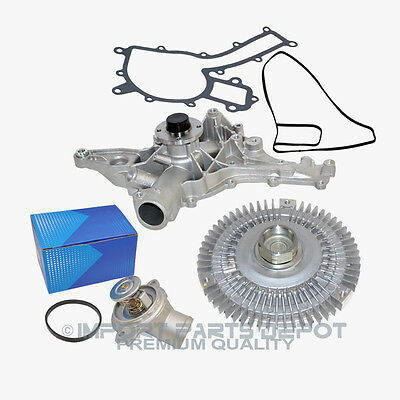 Water Pump Fan Clutch Thermostat Kit Mercedes ML320 ML350 163 Premium (3pcs) New