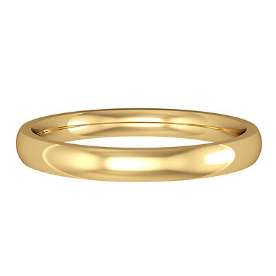 Jewelco London 18ct Yellow Gold 2.5mm Court Polish Wedding Band Commitment Ring