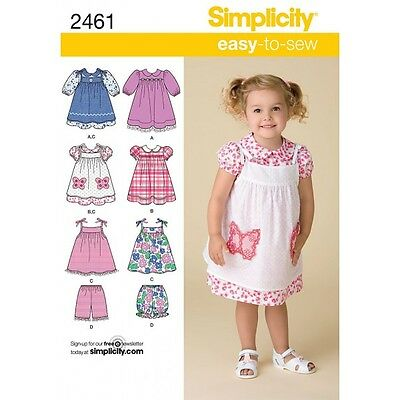 Toddler's Dresses Simplicity Fabric Sewing Pattern 2461