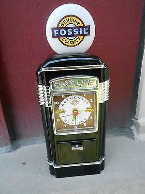 MIB Vintage Fossil Advertising Red Gas Pump Clock (NBS5)