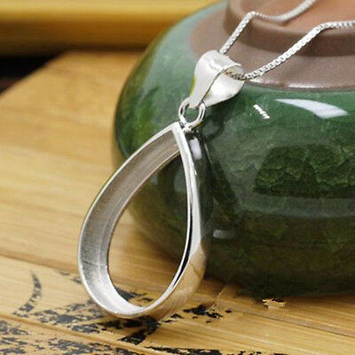 Sterling Silver 925 Plated White Gold 15x20mm Pear Cabochon Semi Mount Pendant