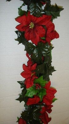 New 6ft Red Silk Flower Pointsetia Christmas Garland