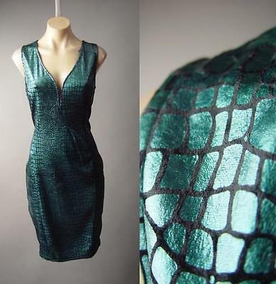 Metallic Teal Black Reptile Pattern Plunge Neck Pencil Party 201 df Dress 1XL