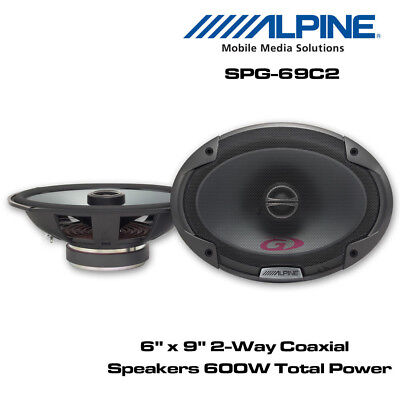 "Alpine SPG-69C2 - 6 x 9"" 2-Way Car Coaxial Shelf Speaker 600 Total Power"