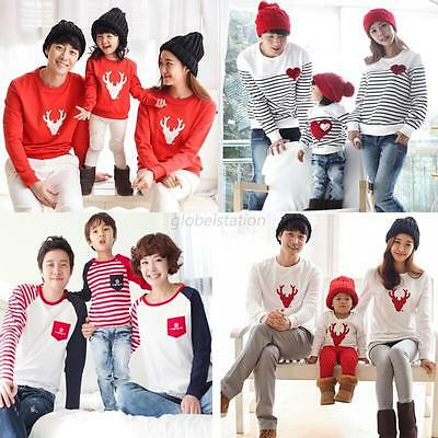 Xmas Family Matching Top Mother Father Dad Mom Baby Long Sleeve Pullover T Shirt