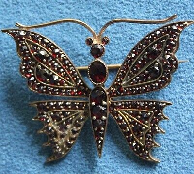 Large Antique Victorian Dark Red Bohemian GARNET Butterfly Insect Brooch Pin
