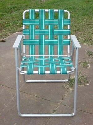 Aluminum Folding Webbed Lawn Chair, Mid Century, Green