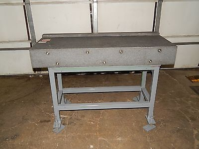 "Approximate 53""X 19""X 7"" Granite Top Table On Steel Stand with adjustable legs"