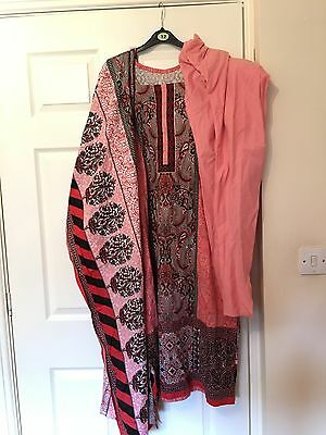 Ladies 3pc Cotton Chooridaar Salwar Kameez Suit Tunic Kurti Kaftan M 12-14