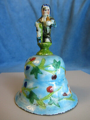 Superb Antique 19th Century Chinese Enamel on Silver Figural Immortal BELL