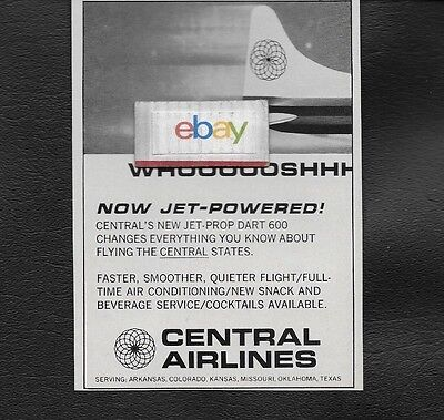 Central Airlines 1967 Convair 600 Prop-Jets Woooooshhhhh Ad