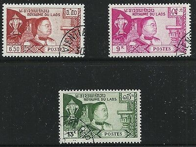 Laos Scott #53-55, Singles 1959 FVF Used