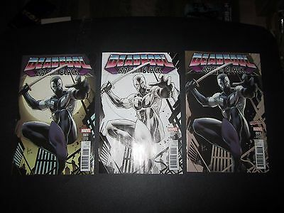 Deadpool: Back In Black #1 Set:comic Mint Color, Black & White, And Nycc Variant