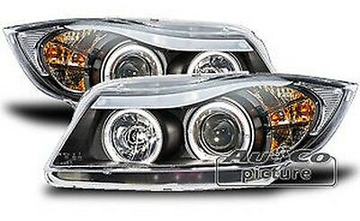 Pair of of Headlights with 2 rings Angel Eyes BMW E90 / E91
