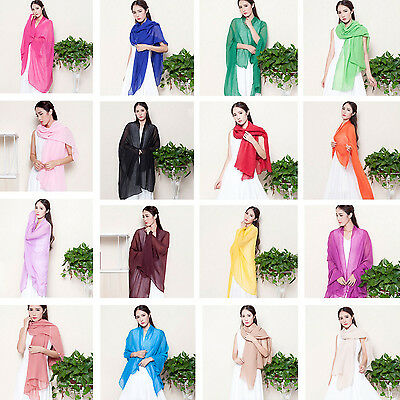 NEW Lady Women 71''X44'' Long Soft Cotton Voile Scarf Wrap Shawl Pure Color NEW