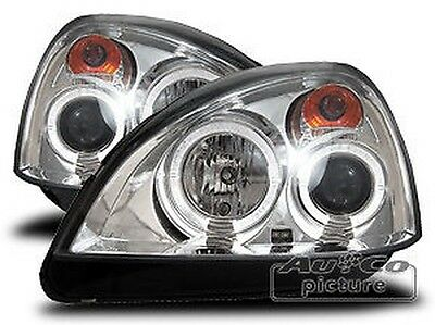 Pair of of headlights with Angel Eyes Renault Clio II 2 Chrome-plated