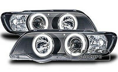 Pair of of headlights with Angel Eyes BMW E53 X5 Black