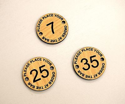 Set of 10 Place Your Order at the Bar, numbered discs, pub bar restaurant, club.