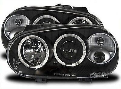 Pair of of headlights with Angel Eyes VW Golf 4 Black with Fog lamp