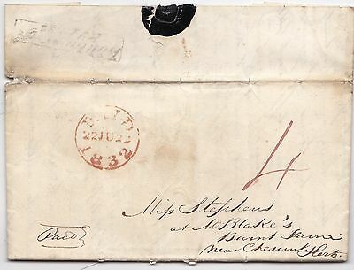 * 1832 WALTHAM CROSS PENNY POST LETTER LONDON TO MISS STEPHENS Nr CHESHUNT HERTS