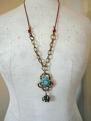 """Handmade Gift One of Kind Aqua Retro Style Old Brooch Drawer Pull Necklace 32"""" L"""