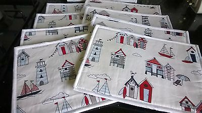 Handmade Placemats Beach Huts Designer Fabric 100% Cotton