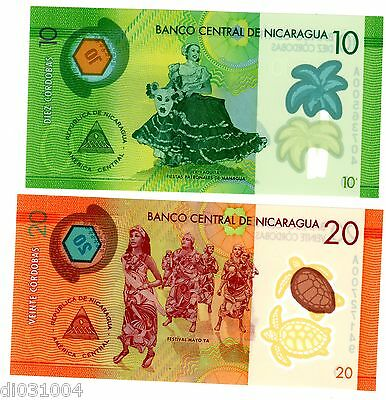LOT SET SERIE 2 BILLETS Nicaragua  Cordobas 2014 ( 2015 ) POLYMER NEUF UNC
