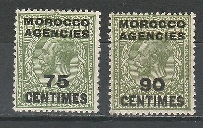 Morocco Agencies French Currency 1925 Kgv 75C And 90C Wmk Block Cypher