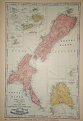 1897 MAP ~ NEW ZEALAND ~  ANTIQUE ORIGINAL LARGE 21x15 ATLAS MAP *FREE S&H DNR