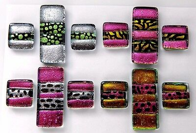 4 Matching Pairs Earrings Pendant (T8) Fused Dichroic Glass Cab