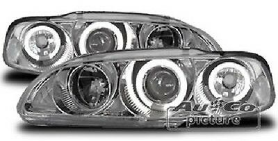 Pair of of headlights with Angel Eyes Honda Civic 92- 95 Chrome-plated