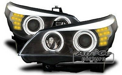 Pair of of headlights with Angel Eyes BMW E60 E61 Black
