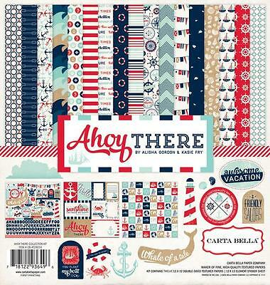 AHOY THERE 12x12 Collection Kit Nautical Sea Scrapbook Carta Bella Paper