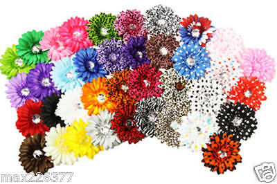 Lot of 20  mixed  flowers on alligator clip for crafts hair tutus gifts favors